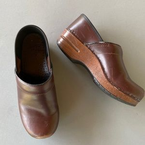 Dansko brown professional wedge clog mules